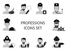 Professions icons set. Ten black and white professions icons set Stock Photos