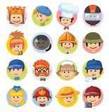Professions kid avatars. Different people professions characters avatars set in flat style Stock Photography