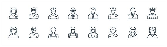 Free Professions Line Icons. Linear Set. Quality Vector Line Set Such As Nurse, Firefighter, Plumber, Call Agent, Police Officer, Stock Image - 192546131