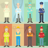 Professions mans concept, cartoon style Royalty Free Stock Photo