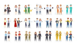Professions men and women. People standing on white Royalty Free Stock Photo