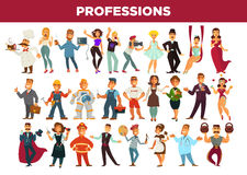 Professions and occupation specialists vector isolated set. Professionals of different occupations specialists. People workers of education, entertainment Royalty Free Stock Image