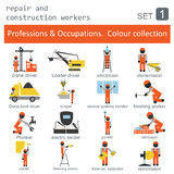 Professions and occupations coloured icon set. Repair  Stock Images