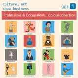 Professions and occupations outline icon set. Culture, art, show. Business. Coloured version. Vector illustration Royalty Free Stock Images