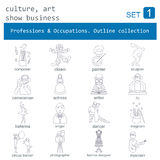 Professions and occupations outline icon set. Culture, art, show Stock Photography