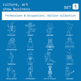 Professions and occupations outline icon set. Culture, art, show Royalty Free Stock Image