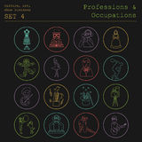 Professions and occupations outline icon set. Culture, art, show Royalty Free Stock Photo