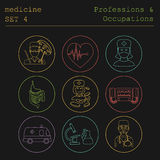 Professions and occupations outline icon set. Medical. Flat line Royalty Free Stock Photos