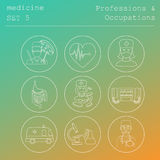 Professions and occupations outline icon set. Medical. Flat line Stock Image