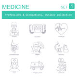 Professions and occupations outline icon set. Medical. Flat line Royalty Free Stock Photography