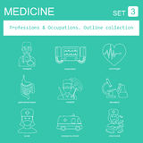 Professions and occupations outline icon set. Medical. Flat line Stock Images
