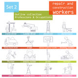 Professions and occupations outline icon set. Repair and constru Stock Image