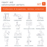 Professions and occupations outline icon set. Repair  Royalty Free Stock Image