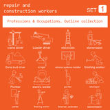 Professions and occupations outline icon set. Repair  Royalty Free Stock Photography