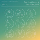 Professions and occupations outline icon set. Veterinary Royalty Free Stock Photos