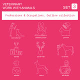 Professions and occupations outline icon set. Veterinary, work  Royalty Free Stock Photography
