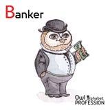 Professions Owl Letter B - banquier Vector d'alphabet Image libre de droits