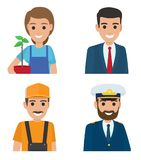 Professions People Cartoon Characters Icons Set. People vector icons set. Different professions cartoon characters in uniform half-length portraits isolated on Royalty Free Stock Photo
