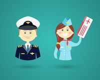 Professions- pilot and flight attendant. Vector cartoon character icons depicting different Professions with a smiling friendly male pilot and pretty female Royalty Free Stock Photo