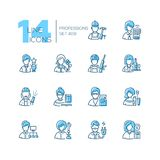 Professions - set of line design style icons. Isolated on white background. Black and blue pictograms. Builder, sportsman, gardener, soldier, firefighter Stock Photo