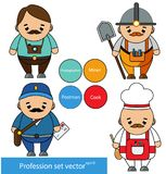 Professions set. Photographer, miner, postman, cook chef characters in cartoon style. vector illustration Royalty Free Stock Images