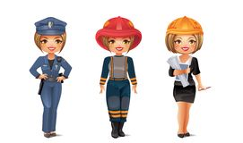 Professions Set 6. Police, firefighter, architect - isolated on white Stock Photography
