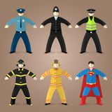 Professions set of policeman, fireman and superman Royalty Free Stock Images