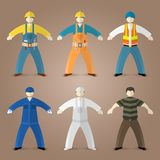 Professions set of workers and builders Stock Photos