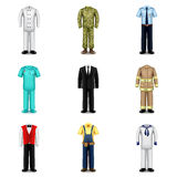 Professions uniforms icons vector set Royalty Free Stock Image