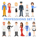 Professions, uniforms, job. Profession set. Men cartoon isolated on white background royalty free illustration