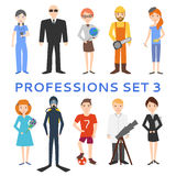 Professions, uniforms, job. Profession set. Men cartoon on white background stock illustration