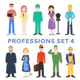 Professions, uniforms, job. Set of vector icons. Profession set. Men cartoon isolated on white background stock illustration