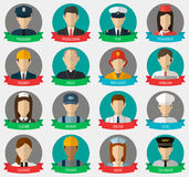 Professions Vector Flat Icons. Signs, symbols set Royalty Free Stock Photography