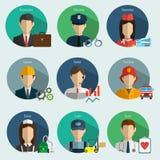 Professions Vector Flat Icons. Signs, symbols set Royalty Free Stock Photos