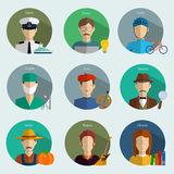 Professions Vector Flat Icons. Signs, symbols set Royalty Free Stock Image