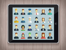 Professions Vector Flat Icons with tablet PC Royalty Free Stock Photo