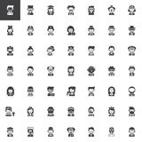 Professions vector icons set. Modern solid symbol collection, filled style pictogram pack. Signs, logo illustration. Set includes icons as Doctor, Chef Stock Photography