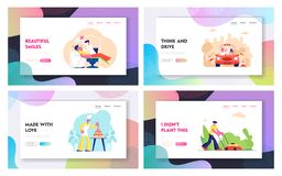 Professions Website Landing Page Set, Car Driving Instructor Teach Learner, Confectioner Make Festive Cake, Lawn Mower. Dentist Heal Patient in Clinic Web Page royalty free illustration