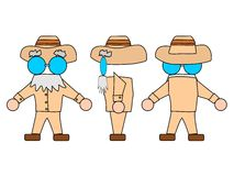 Professor. Cartoon professor archaeologist. The image from three parties: front, back and side view Royalty Free Stock Image