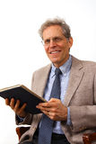 Professor. University professor with book, teaching stock images
