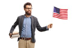Professor with an American flag. Isolated on white background stock image