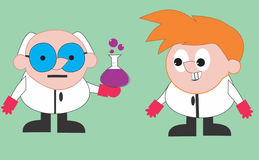 Professor and assistant. Professor and his assistant is make a formula stock illustration