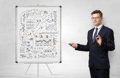 Professor auf whiteboard unterrichtender Wirtschaft stockbilder