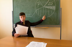 Professor and blackboard Stock Photos