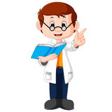 Professor cartoon holding book Royalty Free Stock Photo
