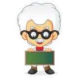 Professor holding blackboard Stock Images