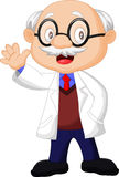 Professor cartoon waving hand Royalty Free Stock Photo