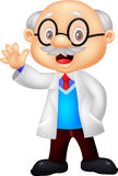 Professor cartoon waving hand Stock Photos