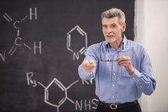 Professor. Of chemistry leading lecture in University royalty free stock images