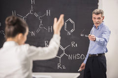 Professor. Of chemistry leading lecture in University stock photos